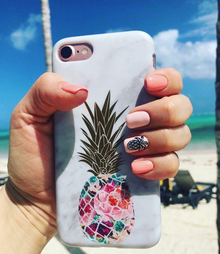 Sommernägel Ananas Design Maniküre Sommer Maniküre
