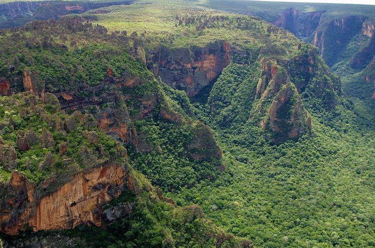 Com suas enormes formações rochosas, mirantes e cachoeiras, o Parque Nacional da Chapada dos Guimarães é umas das principais atrações do Cerrado brasileiro