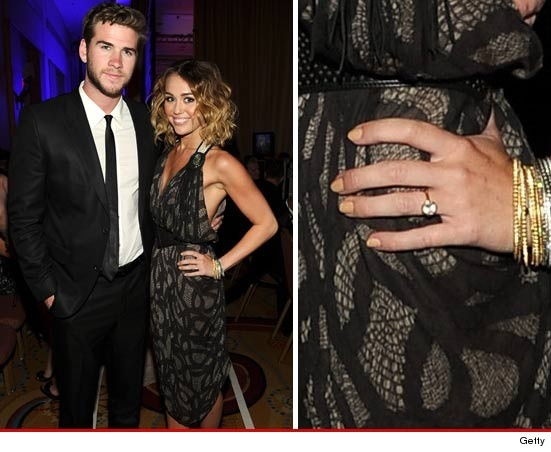 Miley Cyrus -- Sporting Giant Rock ... Is She Engaged?: Miley Cyrus, Celebrity Couples, Liam Hemsworth, Budget Diva, Celebs, Ring Engagement, Long Bob, Engagement Rings