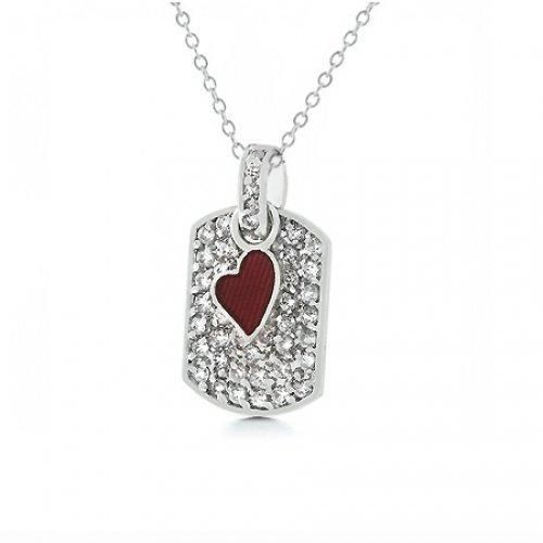 Bling Jewelry Red Heart Charm Dog Tag Pendant Necklace 18in