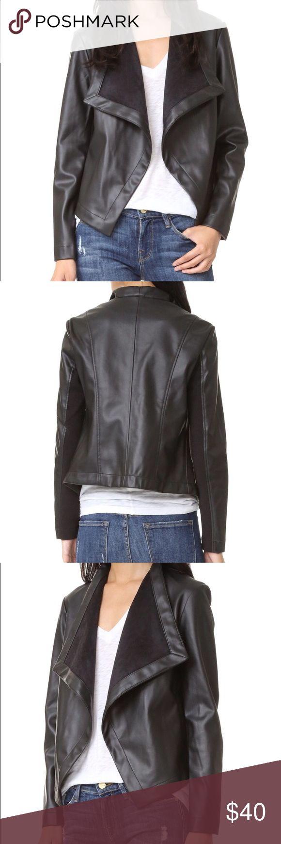 BB Dakota Peppin Vegan Leather Drapey Jacket Excellent condition. Smooth black vegan leather jacket. Ribbed sleeve panels. Oversized lapels. BB Dakota Jackets & Coats