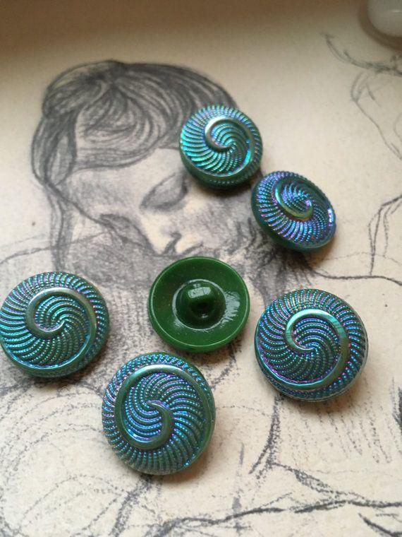 6 alte Sammler / Glasknöpfe - grün schillerndes Muster - Artdeko - rarität Vintage !!! 6 glas buttons