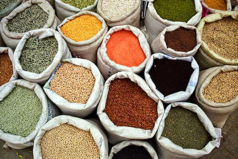 Grains at a Market in Kathmandu, Nepal