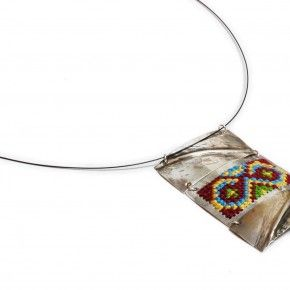 Sterling silver necklace. Handmade embroidered silver. Traditional patterns. Greek embroidery patterns