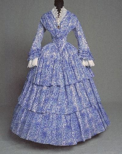Day dress, 1850's Ok. That waist is just crazy!