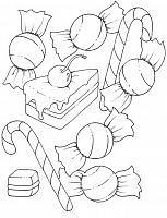 disegni da colorare torta e caramelle per bambini