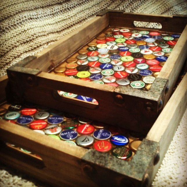 Beer cap serving trays! Ariel Coverage