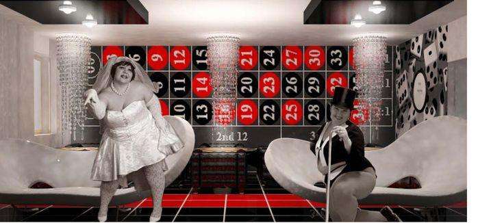 Theme restaurant ristorante tematico interior design interni rosso nero black red game gambling azzardo casino