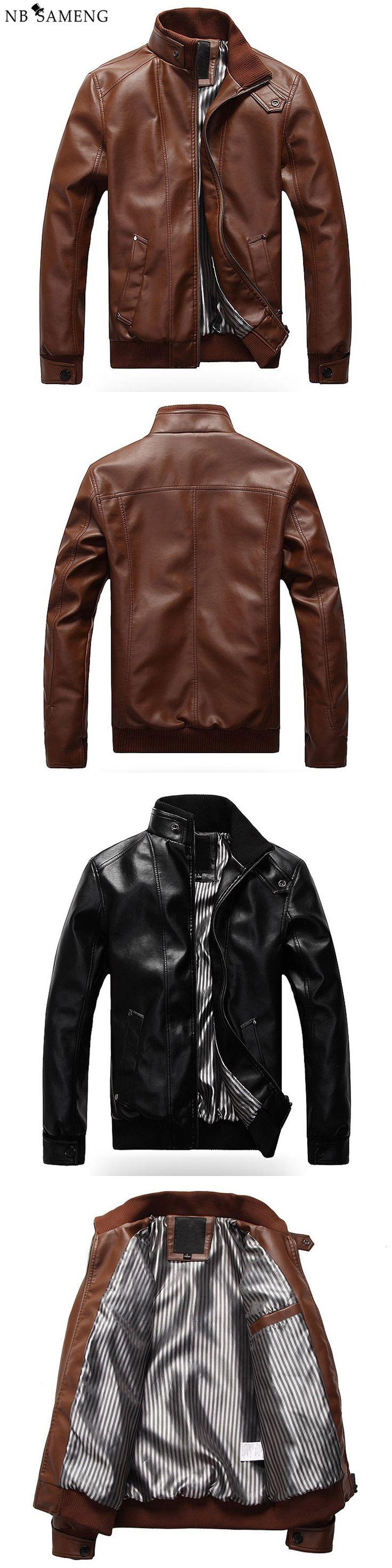 2017 New Fashion Male Leather Jacket Plus Size M-XXXL  Black Brown Mens Mandarin Collar PU Coats 13M0719