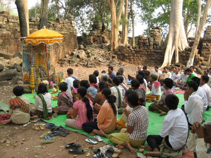 Locals performing a blessing ceremony for the site Banteay Chhmar, Cambodia. Photo by: © GHF