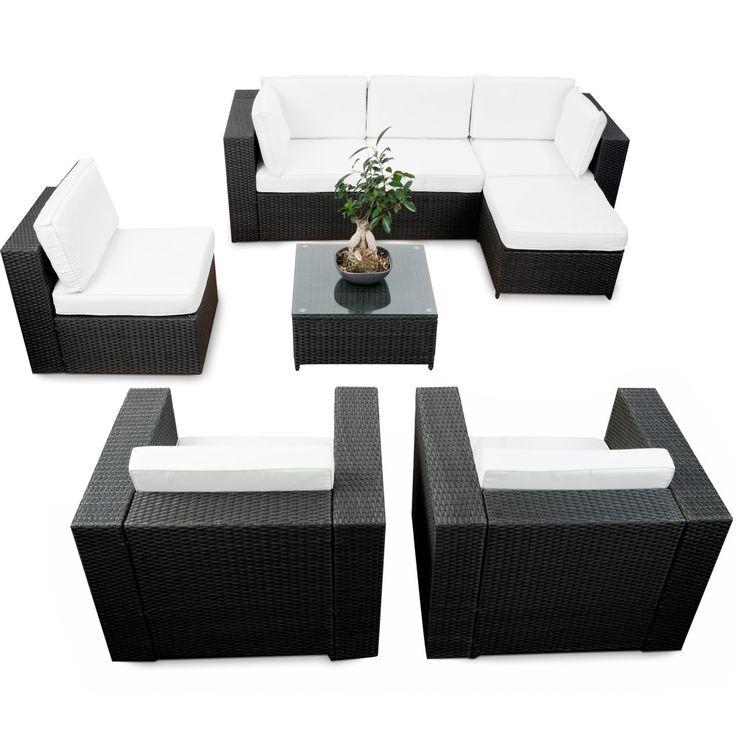 modulares 24tlg. Gartenmöbel Polyrattan Lounge Eck Set XXL - anthrazit