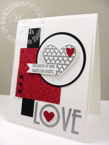 handmade Valentine ... luv this graphic design ... white, red & blace ... luv Mary's cards ... Stampin' Up!