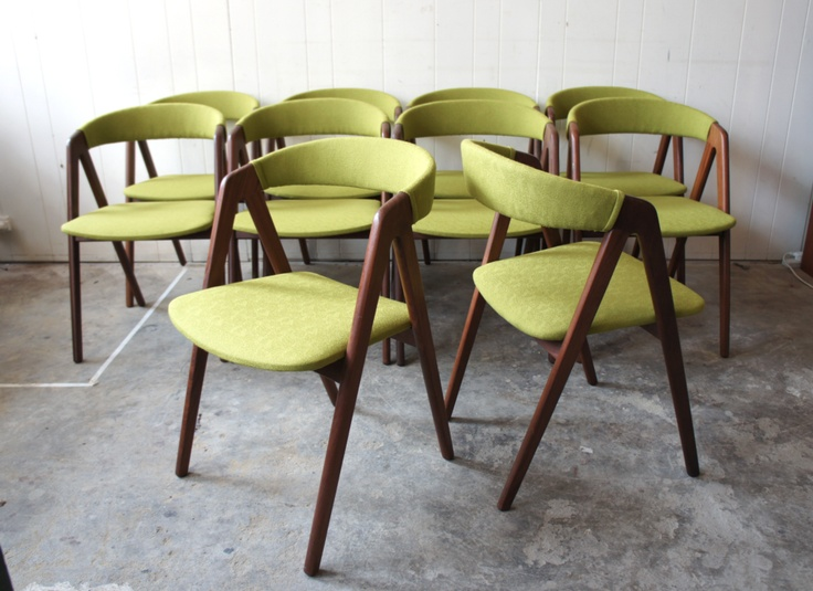 Kai Kristiansen teak dining chairs upholstered in new wool (only 4 available). $1120 (ST102)