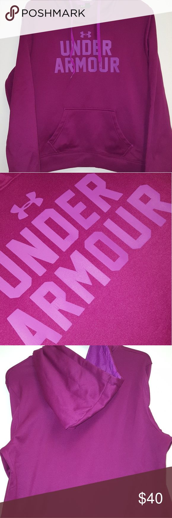 UNDER ARMOUR STORM CALIBER HOODIE SILKY/SOFT TO THE TOUCH FLEECE STYLE WOMENS HOODIE   NOT BEEN WORN IN YET BUT HAS BEEN WORN FEW TIMES...  LETTERING IS ALL INTACT, BUT SLIGHT CRACKLE SHOWING.  THE COLOR IS BETWEEN PURPLE AND PINK TONES. Under Armour Tops Sweatshirts & Hoodies