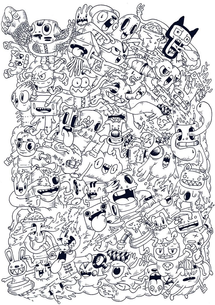 382 best doodle  u0026 monster coloring pages images on