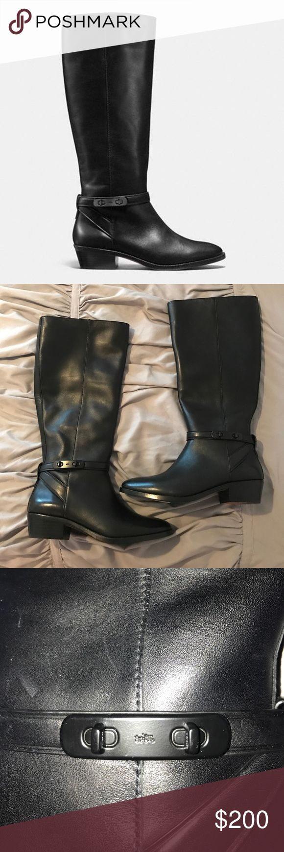 Black Caroline COACH Boots. Black coach boots with ankle strap detail. NWT. Never worn.  🔹Spring cleaning so everything must go! Which also means no trades! 🚫 🔹Reasonable offers accepted through the offer button.  🔹Bundle and Save 20% off.  🔹Fast Shipping!  🔹Smoke free home. Coach Shoes Winter & Rain Boots