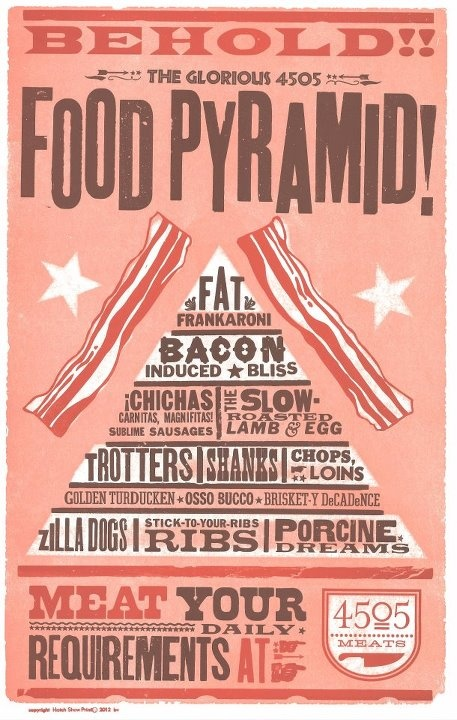 Behold, the food pyramid of pork. Our latest poster for 4505 Meats of San Francisco.