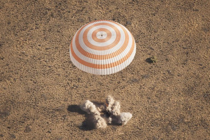 American and Russian astronauts landing home after 5 months in outer space.