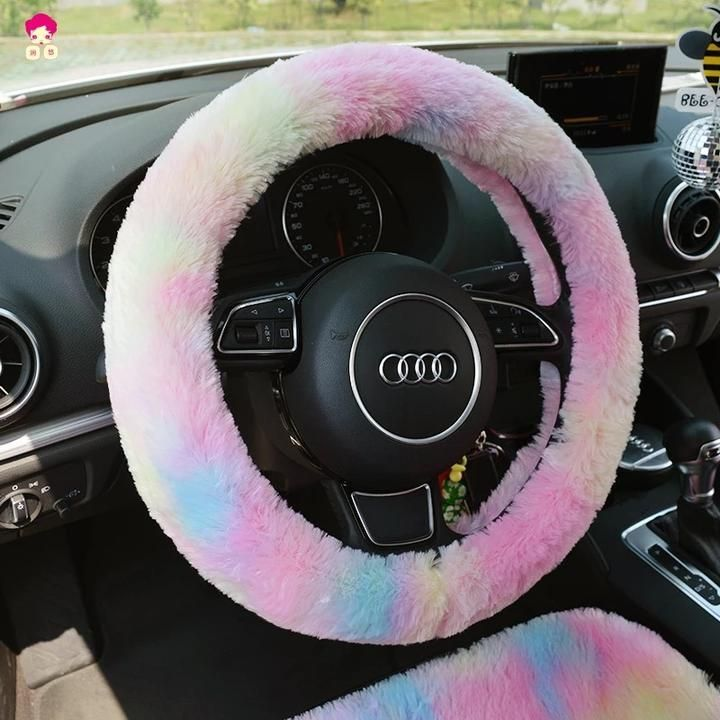Fluffy Car Accessories Steering Wheel Cover Seat Cover Headrest Pillow Seat Belt Cover Wa Steering Wheel Cover Cute Car Accessories Girly Car Accessories