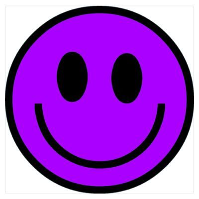 Purple Smiley-Face | CafePress > Wall Art > Posters > Classic Purple Smiley Face Poster
