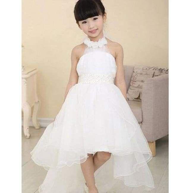 Little Girl's Ultra-Chic White Halter Party Dress – Leanne Cimpa