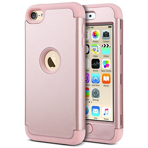 cool iPod 5 case, ULAK iPod Touch 6 Case Hybrid 3 Layer Silicone Shockproof Hard Case Cover for Apple iPod Touch 5th/6th Generation (Rose Gold)