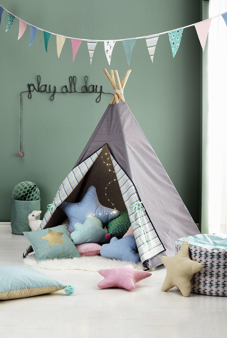Sew a place to relax or be rowdy www.pandurohobby.com Home Decor by Panduro #DIY #interior #kidsroom #kids #room #teepee #barnrum #tent #tipi #vimplar #tält #play #cushions #star