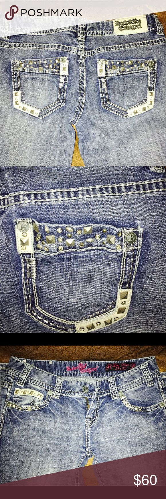 "Rock&Roll cowgirl jeans Rock&Roll cowgirl jeans size 27X32 in perfect conditions! Adorable jeans just don't fit me anymore. The only thing wrong with these is it's missing the ""LL"" at the end of ""Roll"" other then that they're aren't stained or torn from anywhere Rock & Roll Cowgirl Jeans Boot Cut"