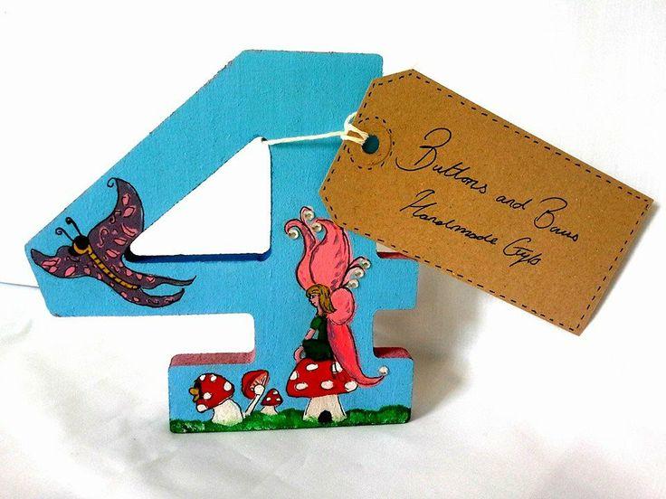 Freestanding number http://www.facebook.com/buttonsandbowshandmadegifts
