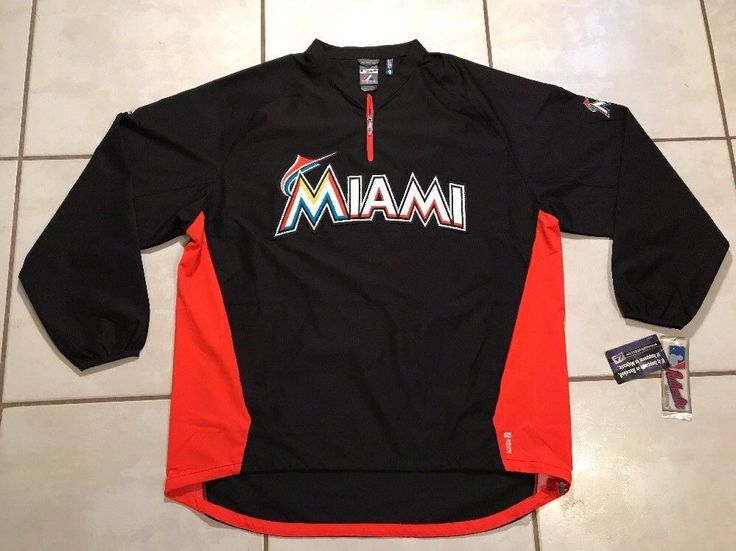 NWT MAJESTIC Cool Base Miami Marlins Pullover Windbreaker Jacket Men 2XL  | eBay