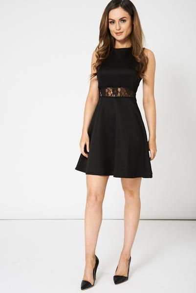 Black Skater Dress With Lace Details - Stunning Rags