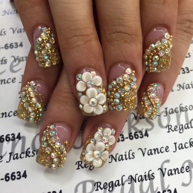 bling nails, bling nail art, bling manicure, gold nails, gold nail art, rhinestone nails, rhinestone nail art, decal nails, exotic nails, loud nail art, pretty nails, intriguing nails, pearl nail art