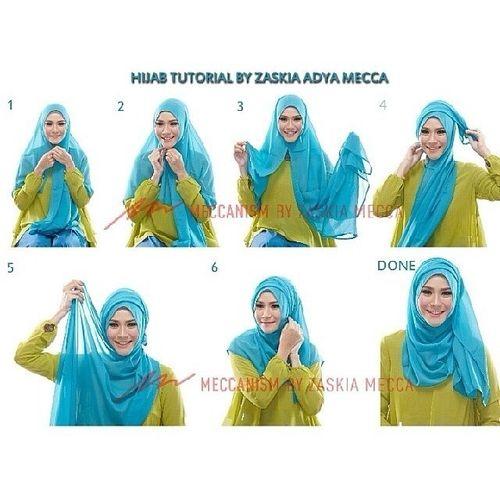 tutorial hijab on Pinterest | Simple hijab tutorial, Square hijab ...