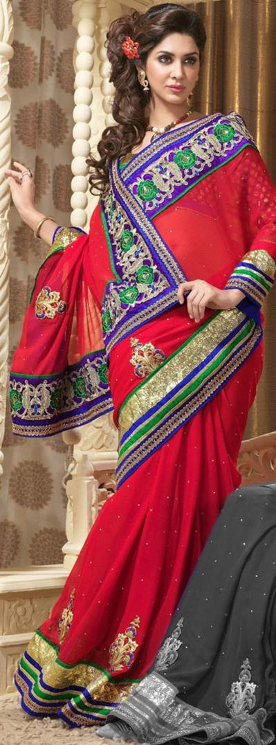 $118.82 Red Embroidery Faux Georgette Saree 22460