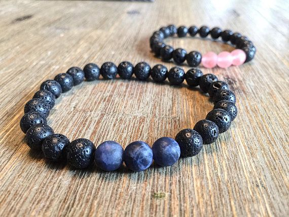 Pink and blue gemstone bracelets perfect for Couples Bracelets. Also great to celebrate the birth of a baby girl or boy . Great as an anniversary gift, shower gift, birth of a special bundle or birthday of your significant other. Pink beads are matte cherry quartz and blue beads are