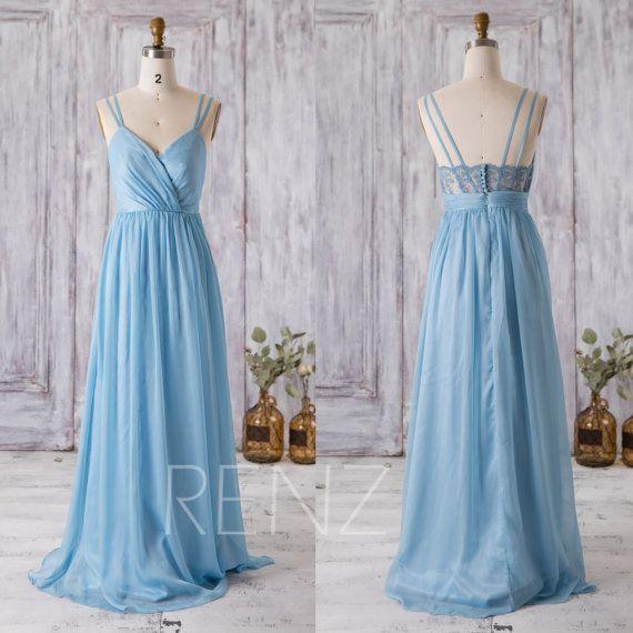 2016 Light Blue Bridesmaid Dress V Neck Wedding Dress By