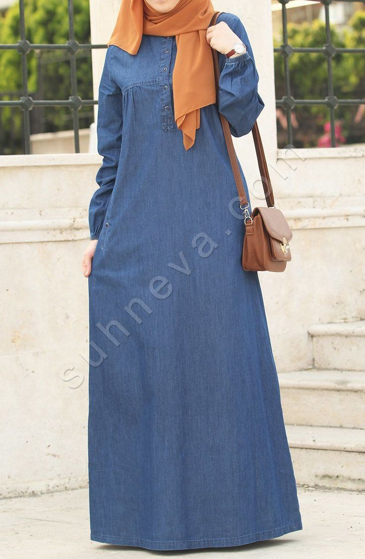Önden Düğmeli Kot Elbise - Lacivert