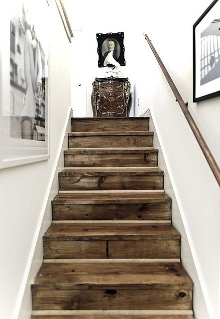 Rustic stair case. It also links to some other pretty awesome ideas!