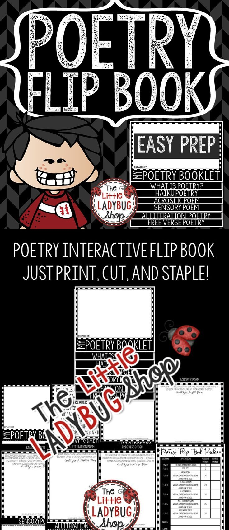 Poetry Writing • Poetry Flip Book is perfect for demonstrating mastery! This is a great culminating Interactive Activity! Perfect for your Poetry Writing Interactive Notebooks! This Poetry Writing works perfectly for students in 2nd grade, 3rd grade, 4th grade.