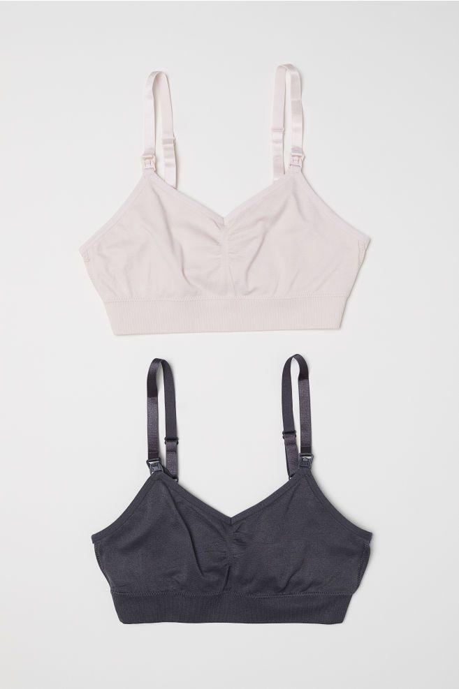 be7e7e21ef2bd MAMA 2-pack Soft Nursing Bras - Dark gray light pink - Ladies