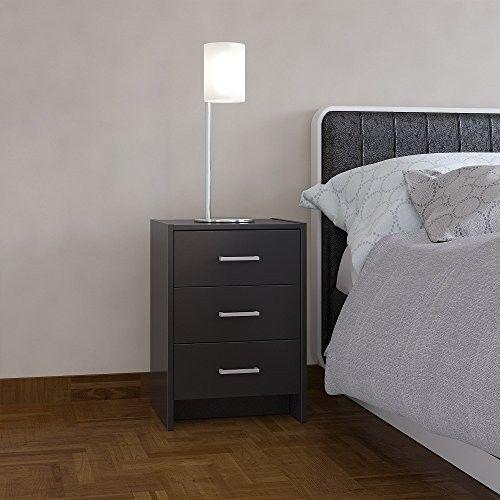 Black Bedside Cabinet 3 Drawer Nightstand Furniture Table Metal Runners Silver