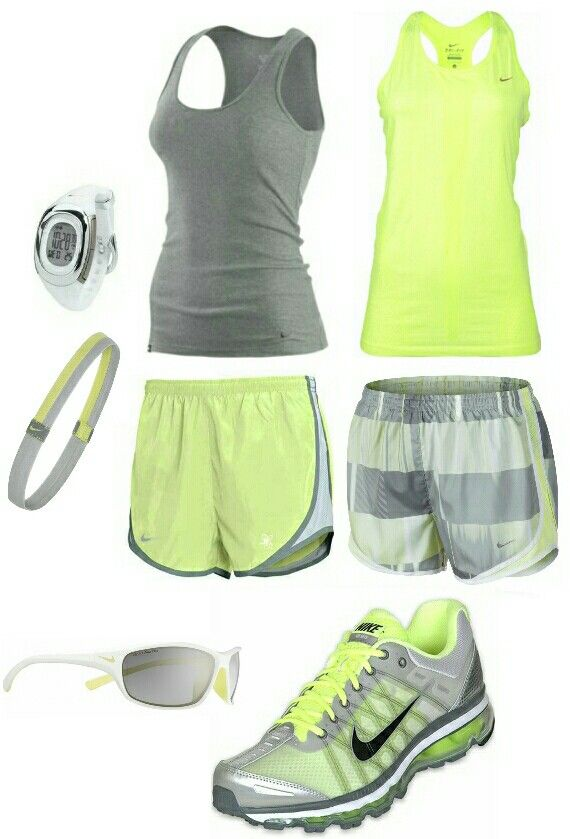Women's fashion gray yellow nike gym outfit