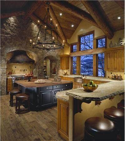 Huge western rustic cabin kitchen.