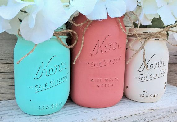 Painted Mason Jars-Coral Teal and Cream-Set by GodGirlsandGlitter