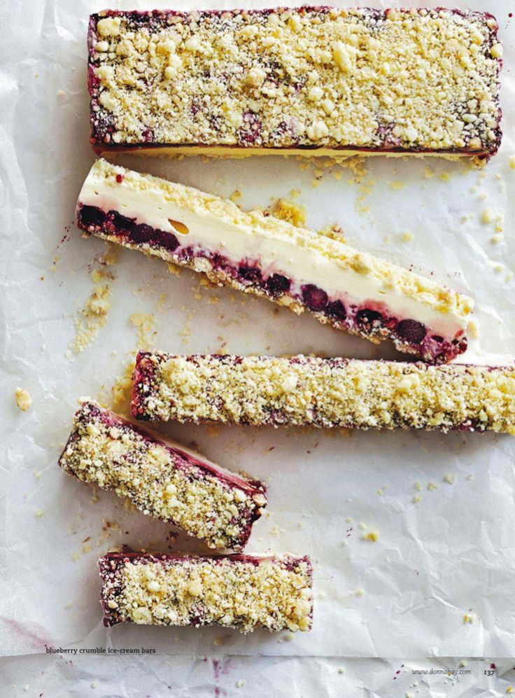 blueberry crumble ice cream bars.  march 2014 donna hay