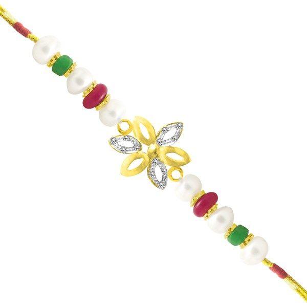 Jpearls Flourish Fresh Water Pearl Rakhi with CZ stones, Red and Green Stones | Pearl Bracelet #rakshabandhan #jewellery #rakhigifts #rakhis #brother