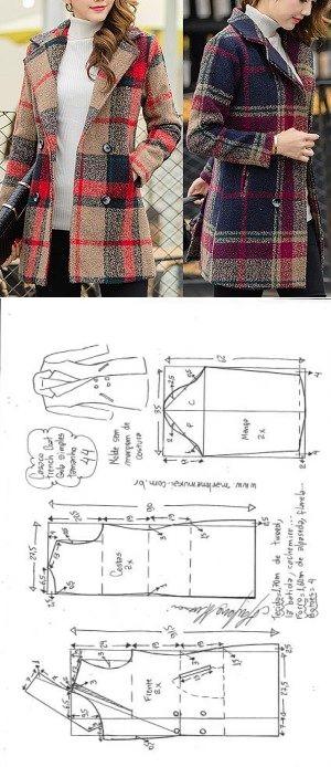 Casaco trench coat gola simples | DIY - molde, corte e costura - Marlene Mukai // Taika