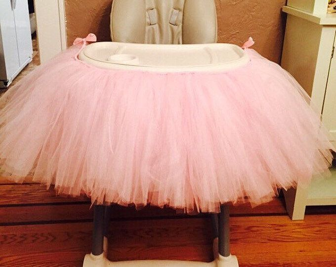 Pink Highchair Tutu, Pink High Chair Tutu, Light Pink Highchair Tutu, 1st Birthday Tutu, Baby Girl Birthday Tutu