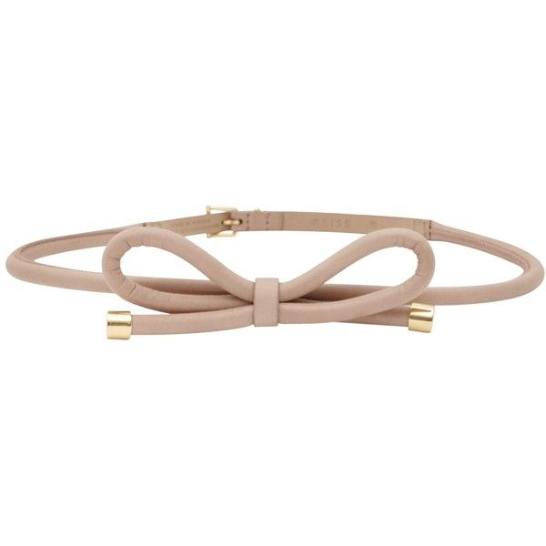 Reiss Swift Bow Tie Belt, Blush (21.900 HUF) ❤ liked on Polyvore featuring accessories, belts, 100 leather belt, reiss, genuine leather belt, pink bow belt and bow belt