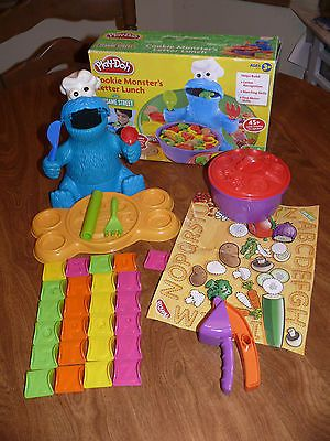 """Hasbro Play Doh Cookie Monster's Letter Lunch w Box No Damage Missing """"E"""""""